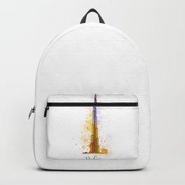 Dubai landmark with watercolor splatters Backpack
