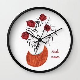 Spiked red roses Wall Clock