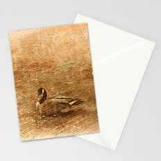vintage style photography, two ducks on the park grass. Stationery Cards