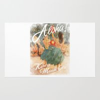 aloha Area & Throw Rugs featuring ALOHA by TOO MANY GRAPHIX