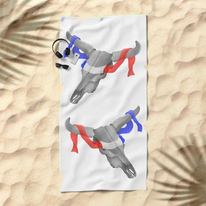 Patriotic Cow Skull Beach Towel