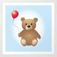 teddy bear Art Prints featuring Teddy by Kris Paludan