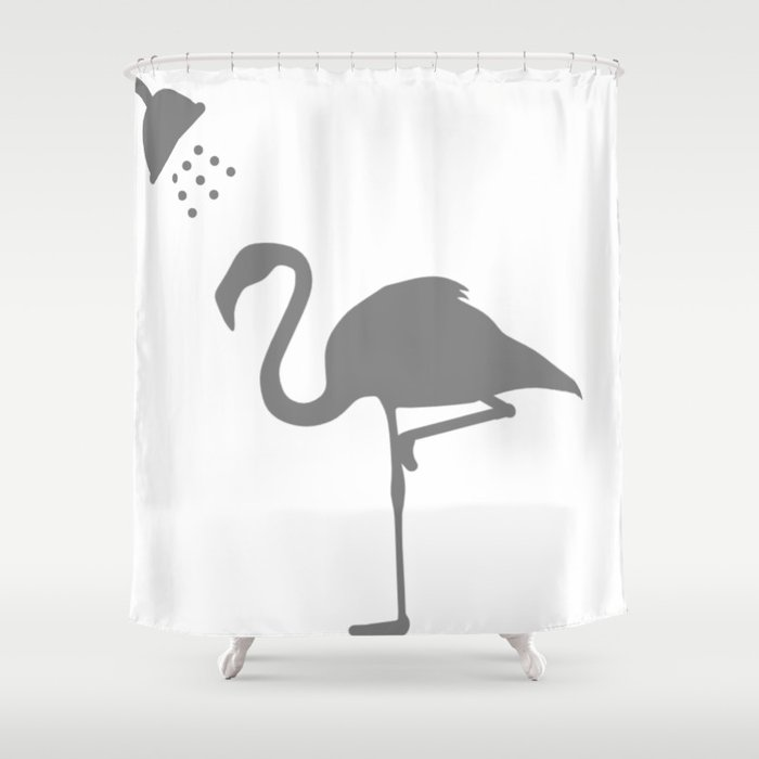 Flamingo Shower Time Shower Curtain