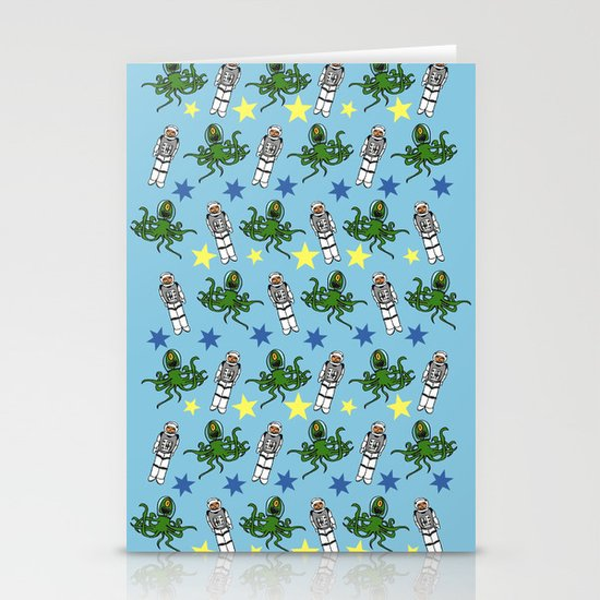 Aliens & Astronauts pattern Stationery Cards