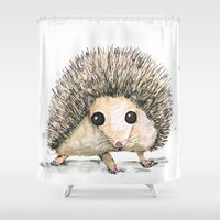 hedgehog Shower Curtains featuring Hedgehog by Bwiselizzy