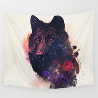wolf Wall Tapestries featuring Universal Wolf by Robert Farkas