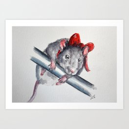 Rat in a bow Art Print