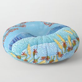 Winter Mountain Colorful Fields Floor Pillow