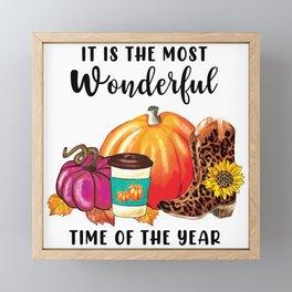 Wonderful Time Of The Year Autumn Pumpkin Quote Framed Mini Art Print