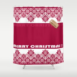 Merry Christmas ! Red lace pattern .Gift . Shower Curtain