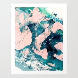 Tenerife: a vibrant abstract in blue, green, and pink Art Print