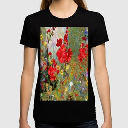 Red Geraniums in Spring Garden Landscape Painting T-shirt