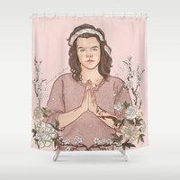 coconutwishes Shower Curtains featuring Peaceful by Coconut Wishes