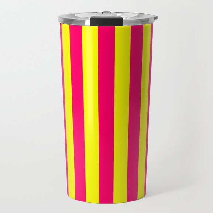 Super Bright Neon Pink and Yellow Vertical Beach Hut Stripes Travel Mug