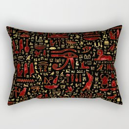 Ancient Egyptian hieroglyphic pattern Red Marble and Gold Rectangular Pillow