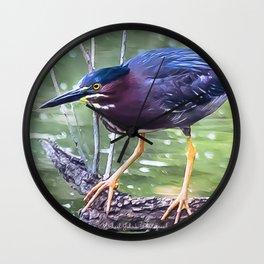 Green Heron Hunting Wall Clock