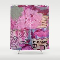 macaroons Shower Curtains featuring Pink Macaroons  by drskippyart