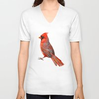 cardinal V-neck T-shirts featuring Cardinal by Freeminds