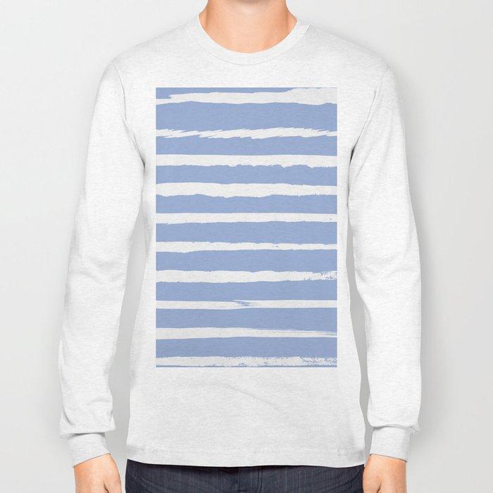 Irregular Hand Painted Stripes Light Blue Long Sleeve T-shirt