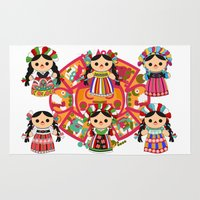 mexican Area & Throw Rugs featuring Mexican Dolls by Alapapaju