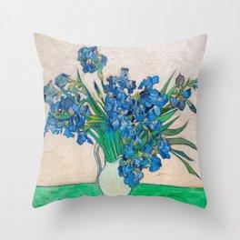 Irises by Vincent van Gogh Oil Painting Still Life Floral Arrangement In Vase Throw Pillow