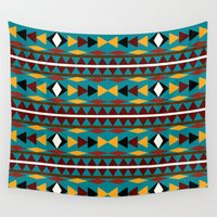 navajo Wall Tapestries featuring Navajo Teal Pattern Art by Christina Rollo
