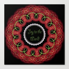 Joy to the world, swirling festive design with text Canvas Print
