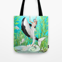 The Mermaid Dance With An Orca Tote Bag