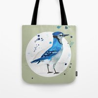 jay fleck Tote Bags featuring Blue Jay by Condor