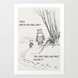 How Do You Spell Love?- Piglet & Pooh Bear Art Print