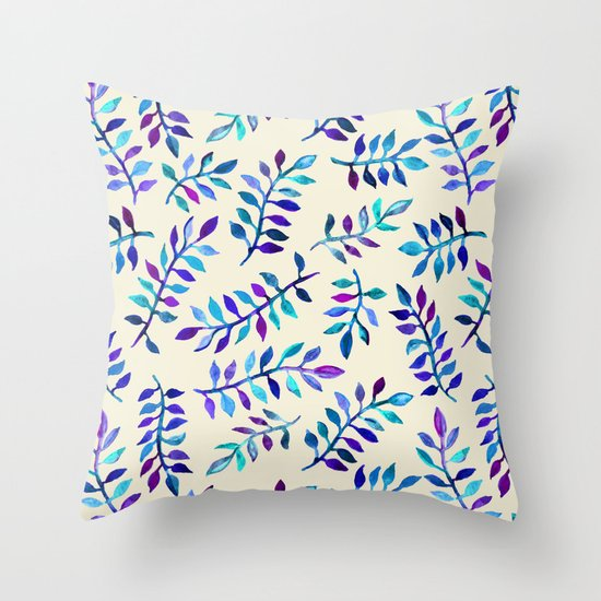 Hand Painted Purple & Aqua Leaf Pattern on Cream Throw Pillow