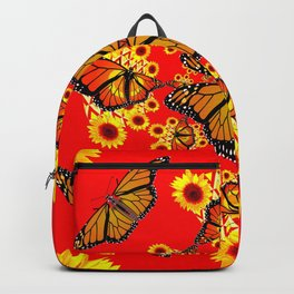 RED SUNFLOWERS & MONARCH BUTTERFLIES ABSTRACT Backpack