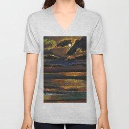 'Moonlight Over a Dark Ocean' coastal landscape painting by F. Cook Unisex V-Neck