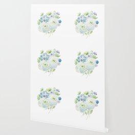 abstract green and blue flowers arrangement  Wallpaper