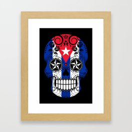 Sugar Skull with Roses and Flag of Cuba Framed Art Print