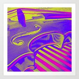 Neon Violin Pink n Yellow Art Print