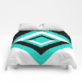 Teal Black and White Diamond Shapes Digital Illustration - Artwork Comforters