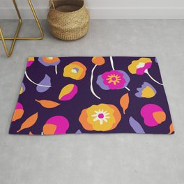 Abstract Dancing Poppies Rug