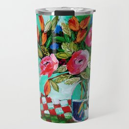 Pinks & Blues & Flames with Checked Cloth on Green Travel Mug