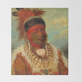The White Cloud, Head Chief of the Iowas, Catlin Throw Blanket