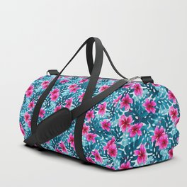 Tropical Hibiscus Pattern Pink Duffle Bag