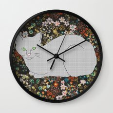 Gray Cat on Floral  Wall Clock