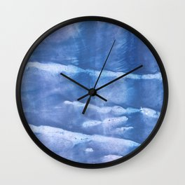 Steel blue clouded wash drawing paper Wall Clock