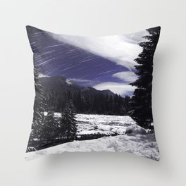 Star Trails in Mount Rainier National Park Throw Pillow