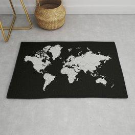 Minimalist World Map Gray on Black Background Rug