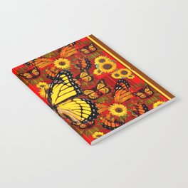 COFFEE BROWN MONARCH BUTTERFLY SUNFLOWERS Notebook