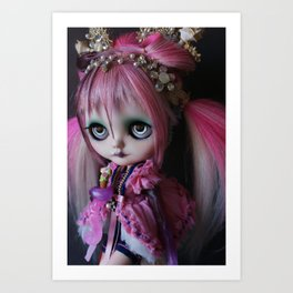 LITTLE OCTOPUS CUSTOM BLYTHE ART DOLL PINK NAVY Art Print