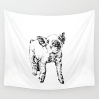 pig Wall Tapestries featuring Pig by Molly Morren
