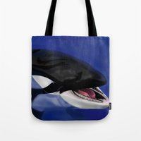 killer whale Tote Bags featuring Killer Whale by TMootrey