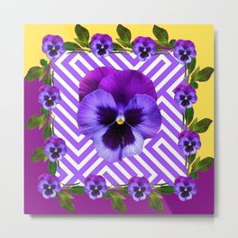 ABSTRACT YELLOW  CONTEMPORARY LILAC PURPLE PANSIES Metal Print